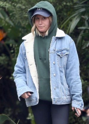 Ashley Tisdale - Out on a rainy day in West Hollywood