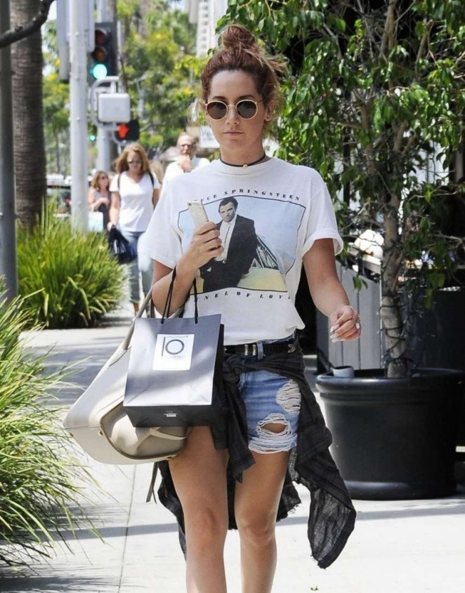Ashley Tisdale in Jeans Shorts Shopping in Beverly Hills