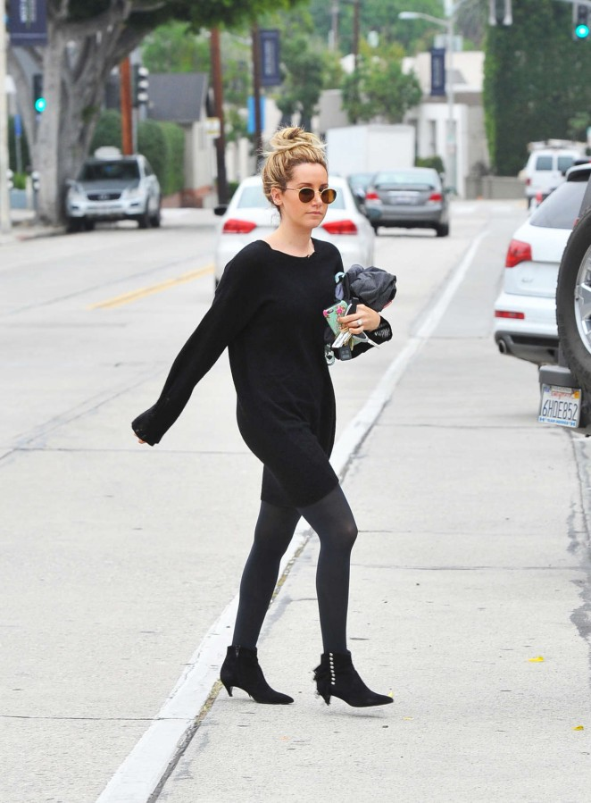 Ashley Tisdale in Black Dress Out in West Hollywood