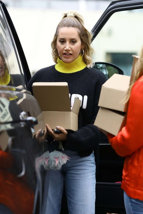 Ashley Tisdale with an open box in West Hollywood