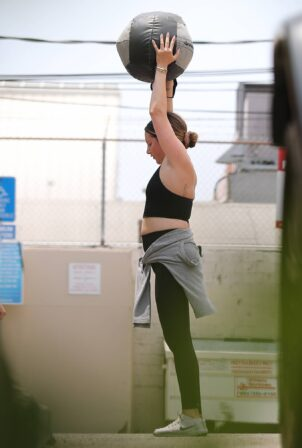 Ashley Tisdale - Workout candids in with a medicine ball at Rise Nation gym in West Hollywood