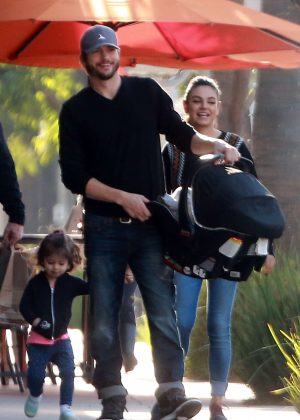 Ashton Kutcher & Mila Kunis Get With Their Children out in Los Angeles