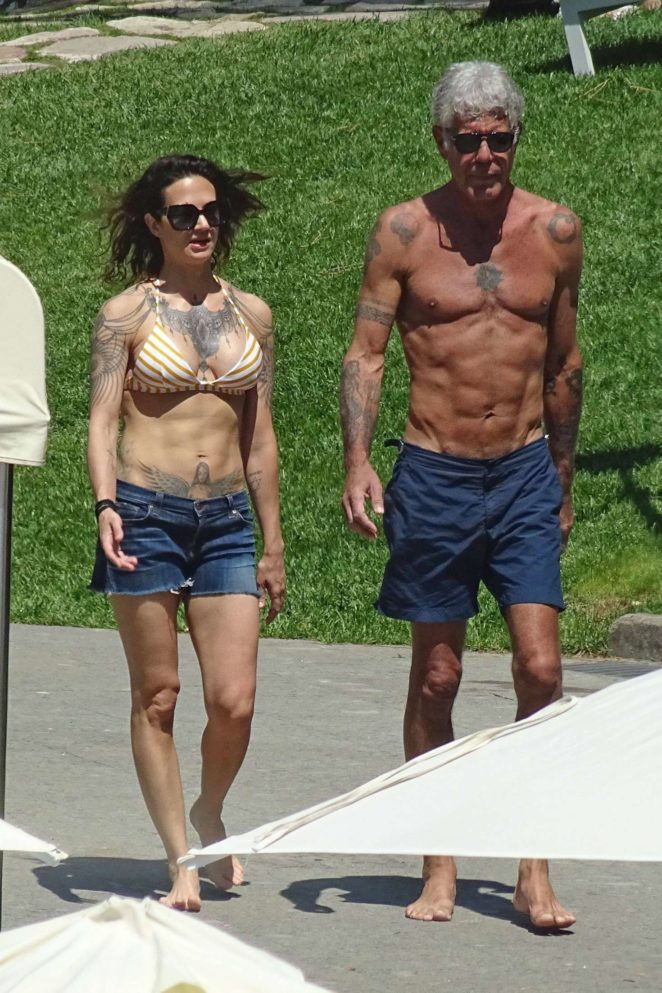 Asia Argento: Bikini Candids at the hotel swimming pool in Rome-01
