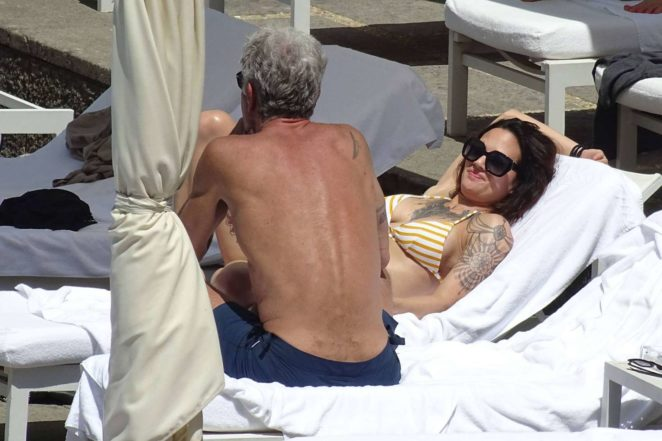 Asia Argento: Bikini Candids at the hotel swimming pool in Rome-02