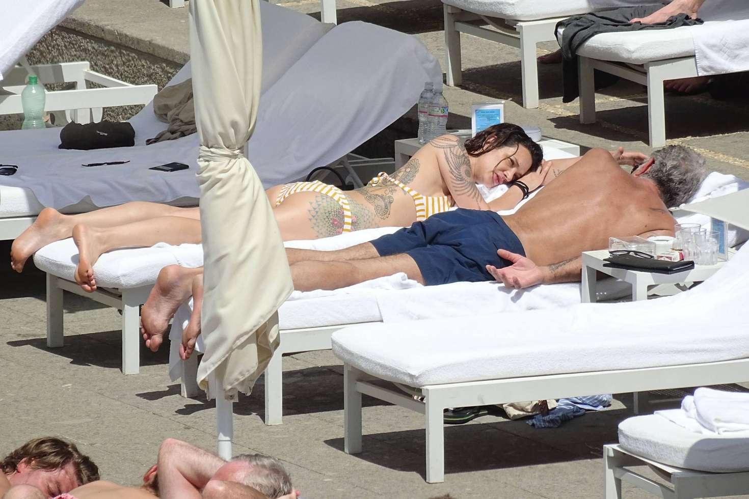 Asia Argento 2017 : Asia Argento: Bikini Candids at the hotel swimming pool in Rome-07
