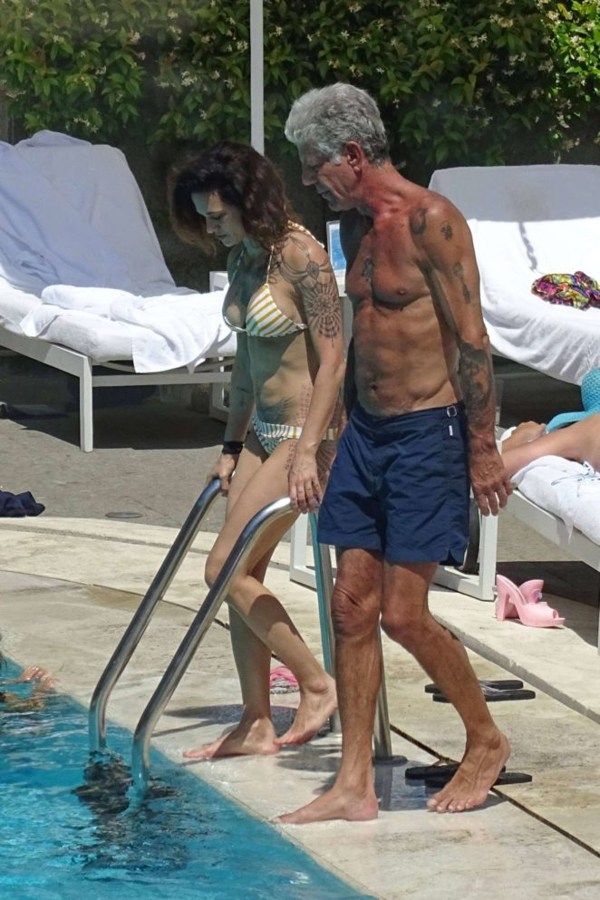 Asia Argento: Bikini Candids at the hotel swimming pool in Rome-09