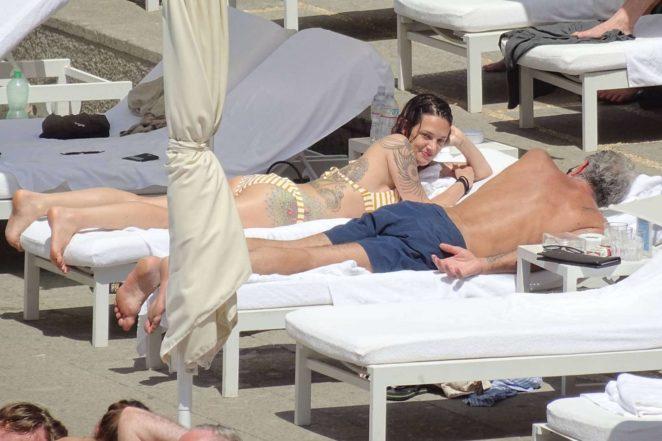 Asia Argento: Bikini Candids at the hotel swimming pool in Rome-10