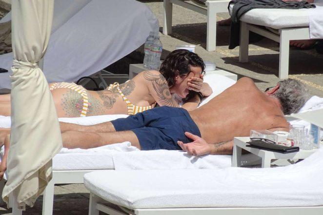 Asia Argento: Bikini Candids at the hotel swimming pool in Rome-11