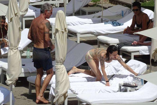Asia Argento: Bikini Candids at the hotel swimming pool in Rome-16