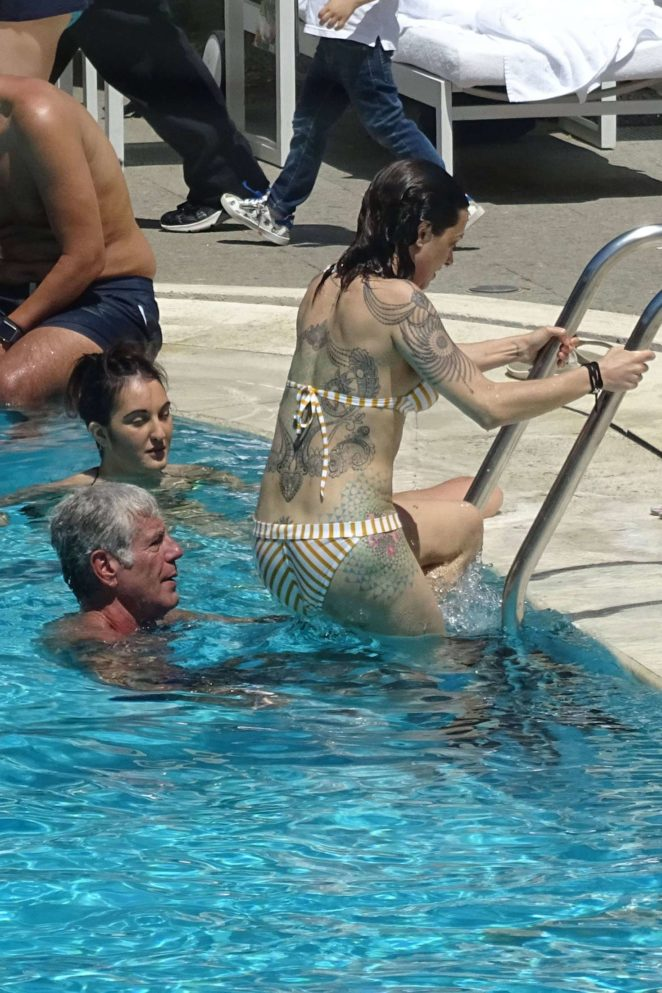 Asia Argento: Bikini Candids at the hotel swimming pool in Rome-25