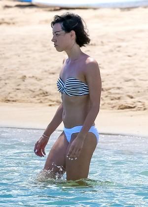 Aubrey Plaza in Bikini at a beach in Hawaii