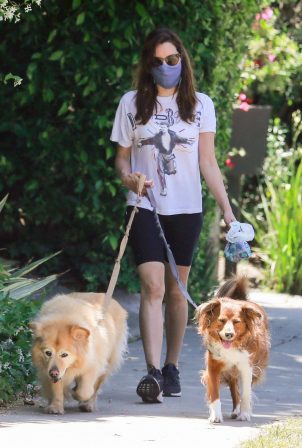 Aubrey Plaza - Enjoys a walk with her dogs in Los Feliz