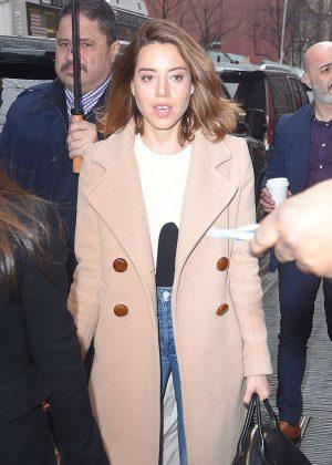 Aubrey Plaza in Beige Coat Out in New York