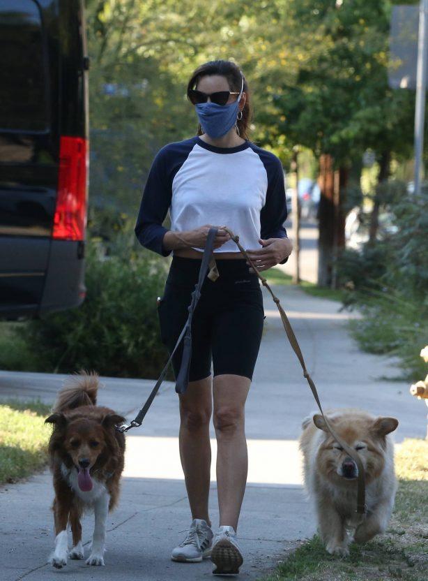 Aubrey Plaza in Black Tights - Walking her dogs in Los Feliz