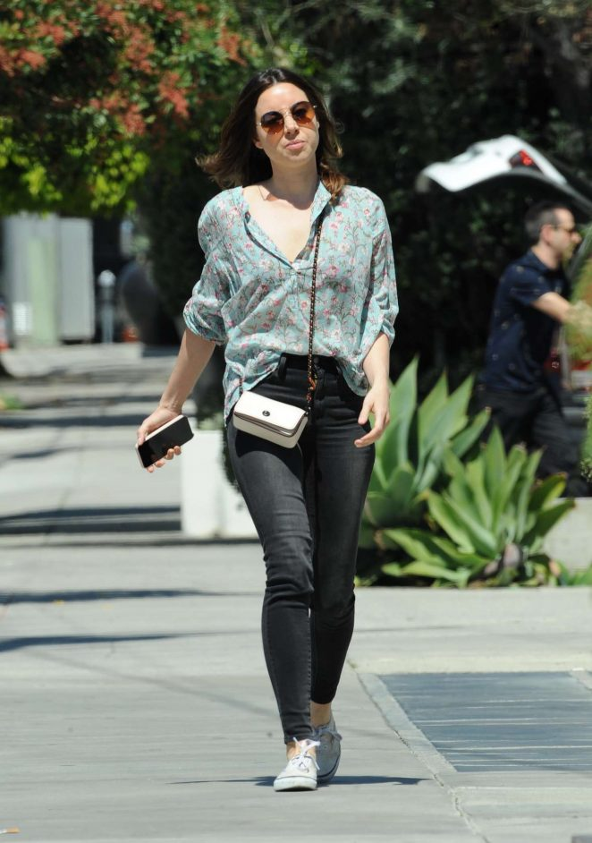 Aubrey Plaza in Jeans - Out in West Hollywood