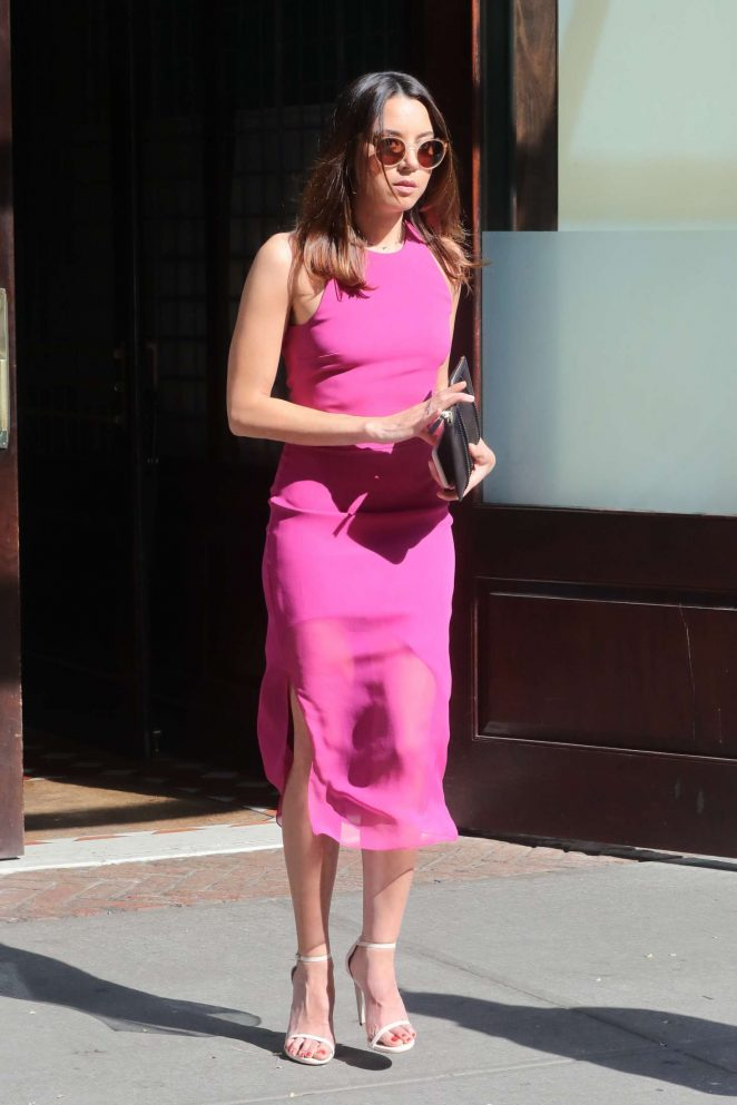 Aubrey Plaza in Pink Dress - Leaving the Greenwich Hotel in NYC