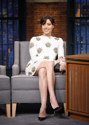 Aubrey Plaza on 'Late Night with Seth Meyers' in New York City