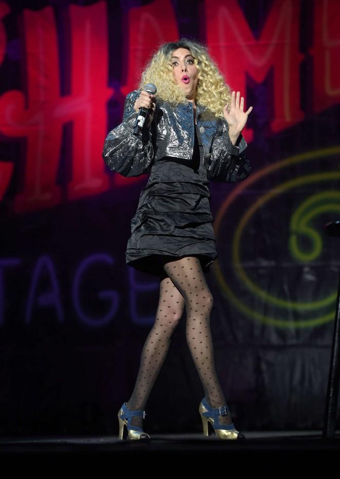 Aubrey Plaza on stage at Festival Supreme in LA