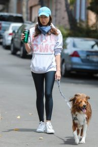Aubrey Plaza - Seen as she walking her dogs