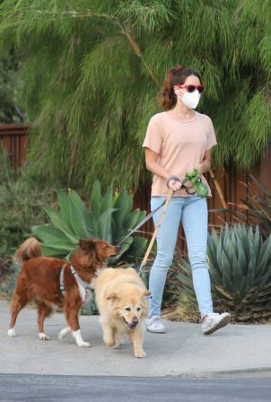 Aubrey Plaza - Seen walking her dogs in Los Angeles