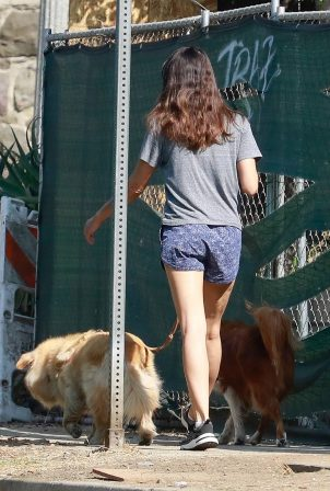 Aubrey Plaza takes her two dogs out for a morning walk