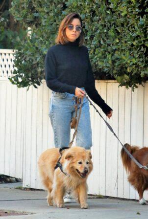 Aubrey Plaza - Walk near her home in LA