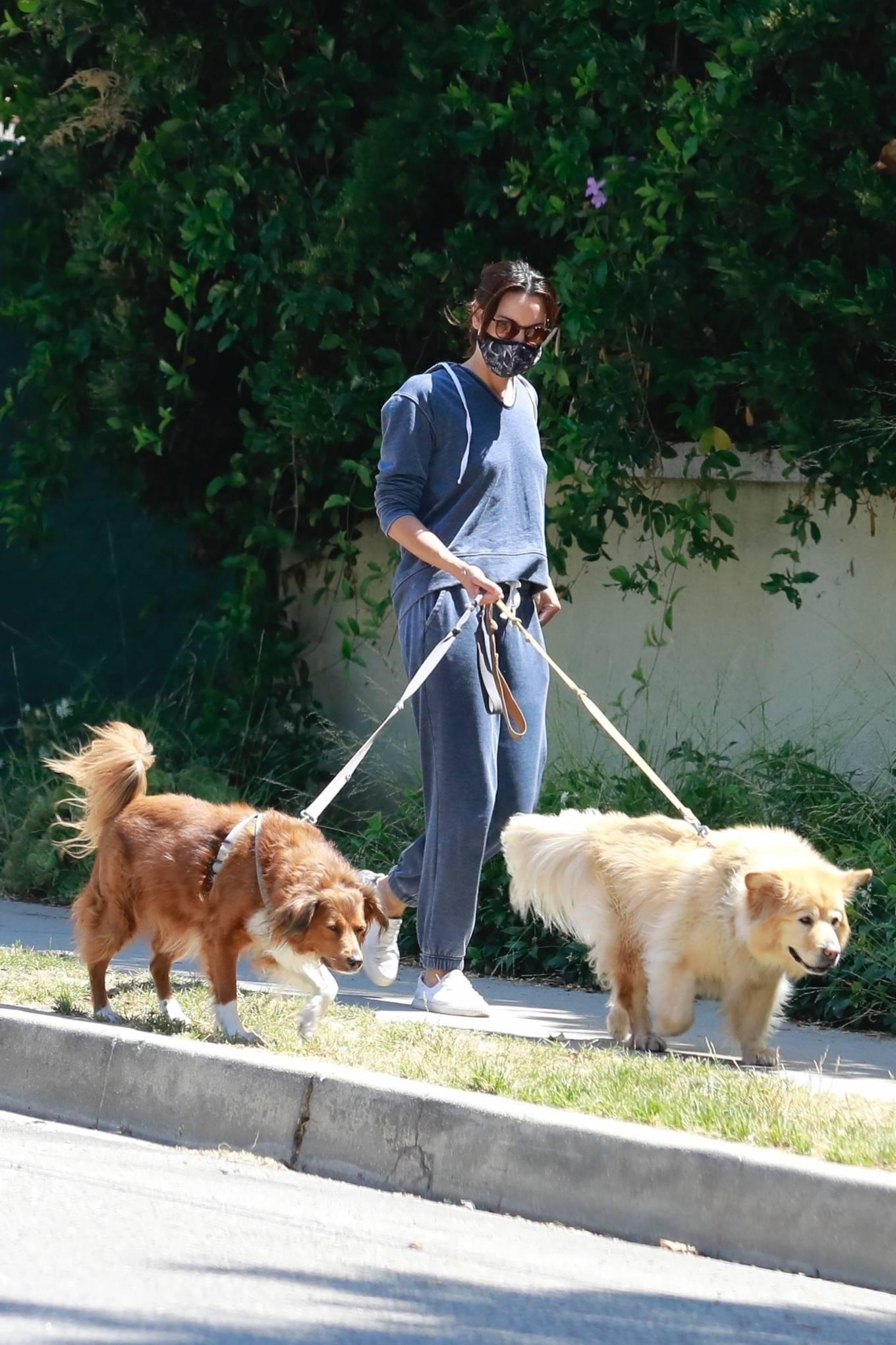 Aubrey Plaza - Walking her dogs in Los Feliz