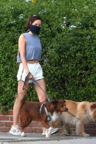 Aubrey Plaza - Wearing shorts and walking her dogs in Los Angeles