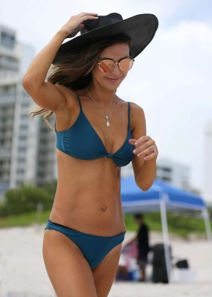Audrina Patridge in Blue Bikini at the beach in Miami
