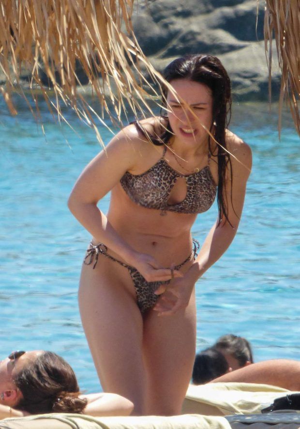 Aurora Ramazotti in Leopard Print Bikini at a beach in Mykonos