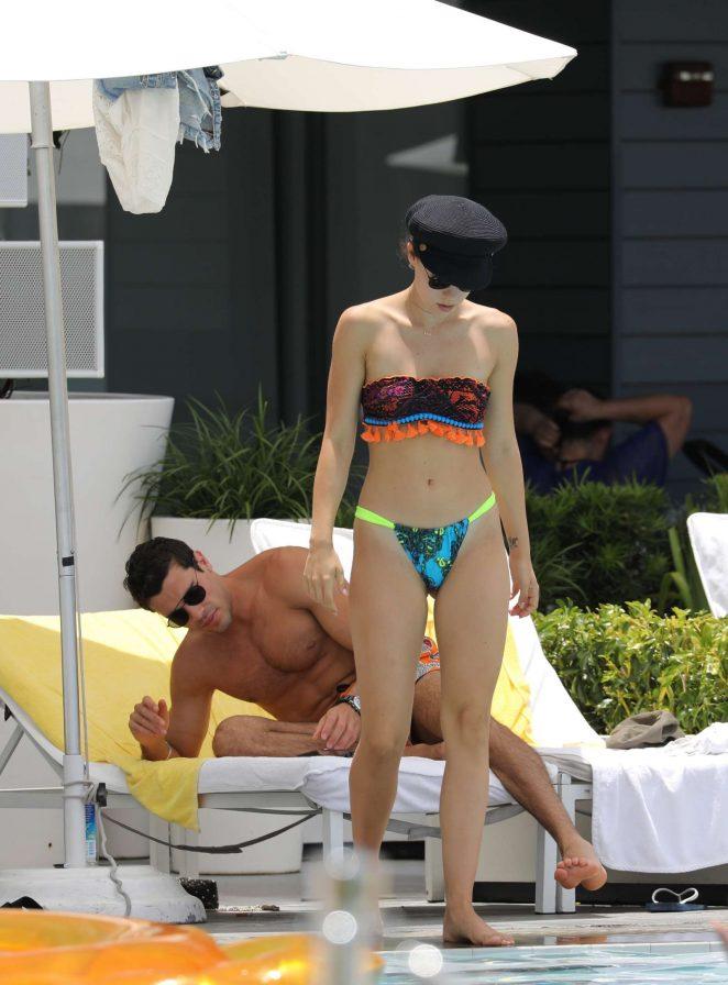 Aurora Ramazzotti in Bikini at a pool in Miami