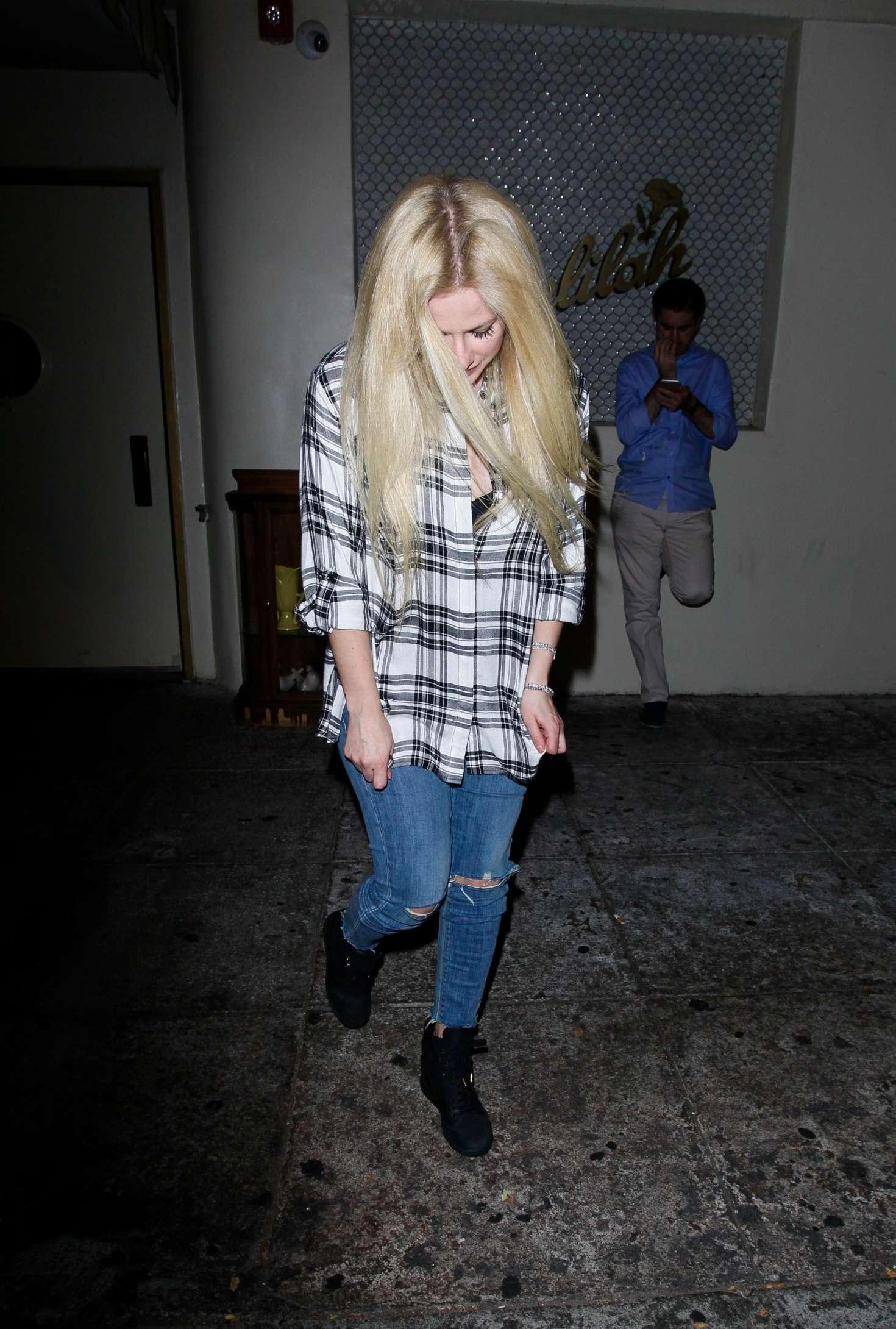 Avril Lavigne in Ripped Jeans Leaving Delilah's Restaurant in LA
