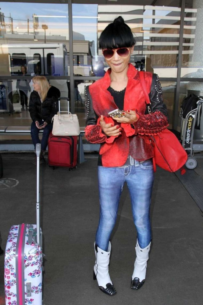 Bai Ling in Jeans at LAX -04