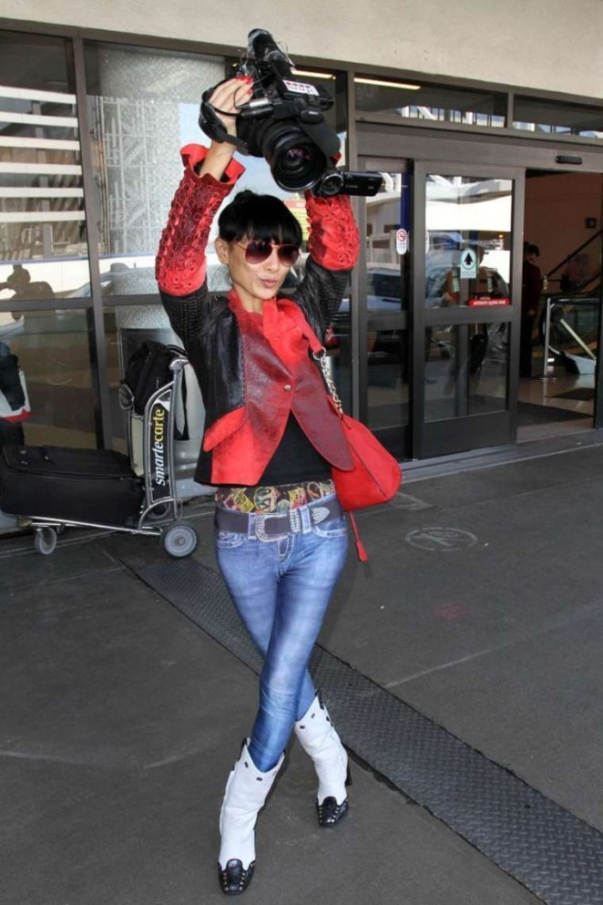 Bai Ling in Jeans at LAX Airport in LA