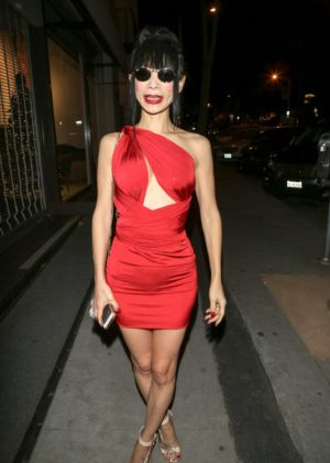 Bai Ling in Red Mini Dress at Craig's Restaurant in West Hollywood