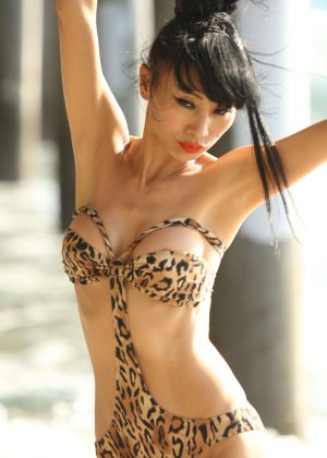 Bai Ling in Swimsuit at the beach in Santa Monica