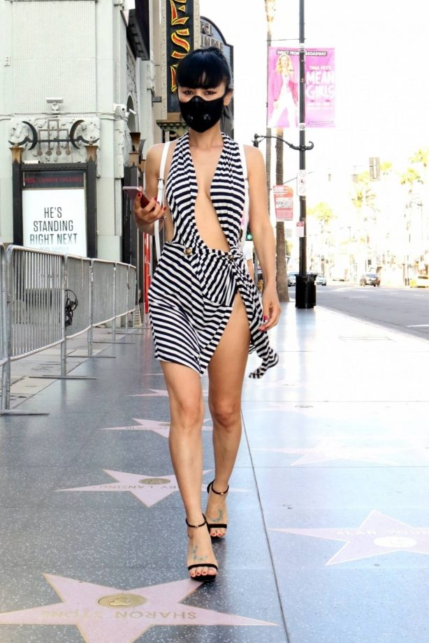 Bai Ling on the Hollywood Walk of Fame in Los Angeles