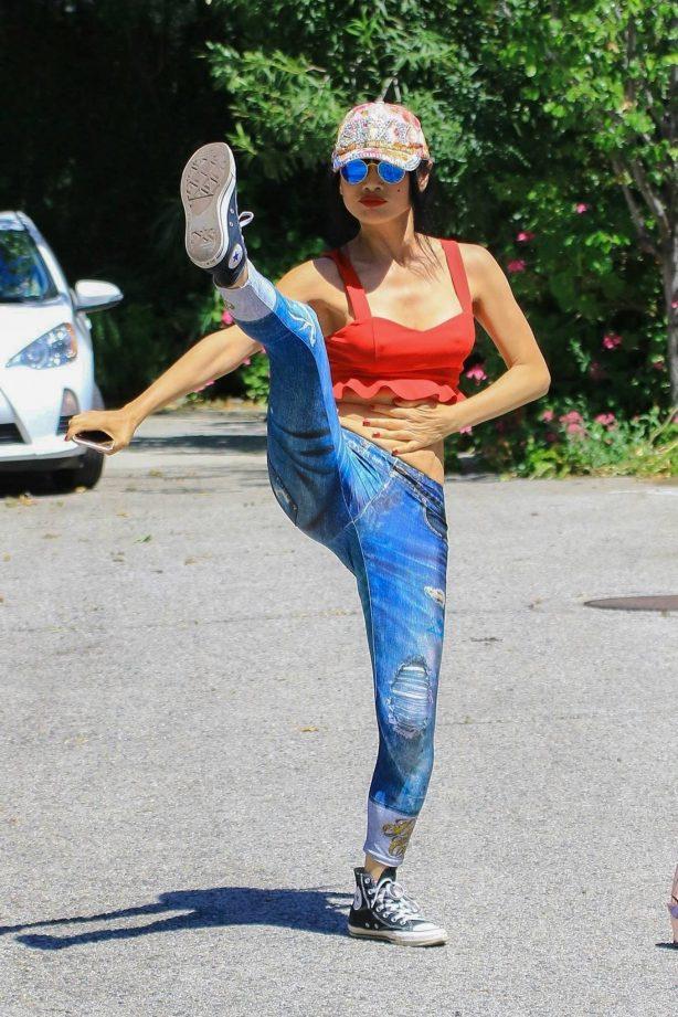 Bai Ling - Stretching at Fryman Canyon in Studio City