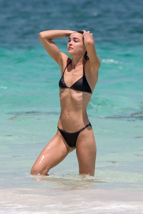 Bambi Northwood-Blyth in Black Bikini on the beach in Tulum