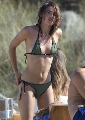 Bambi Northwood Blyth in Tiny Bikini on the beach in Ibiza