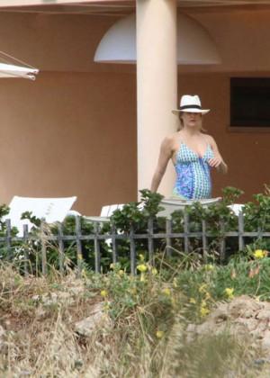 Bar Refaeli in Blue Swimsuit 2016 -10
