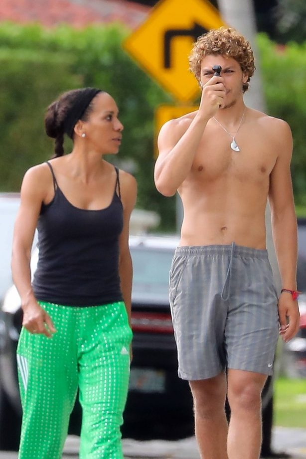 Barbara Becker - Out with son Elias in Miami