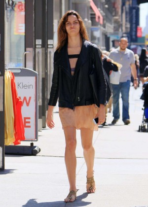Barbara Fialho in Mini Skirt Out in Soho