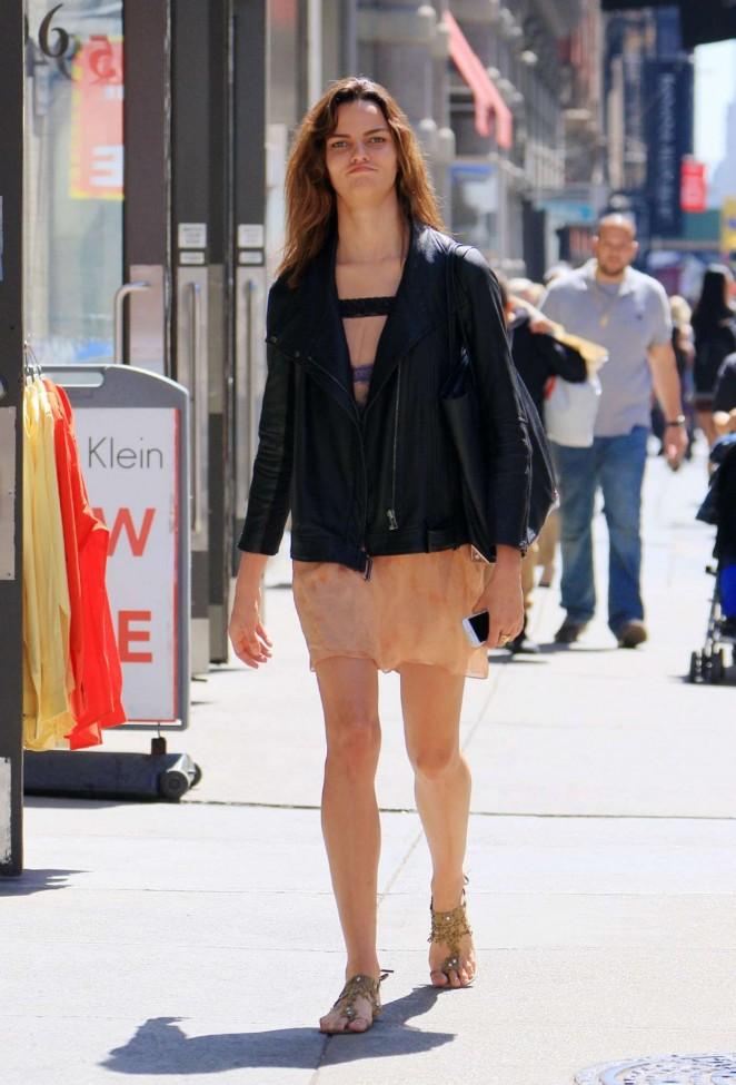 Barbara Fialho in Mini Skirt Out in Soho