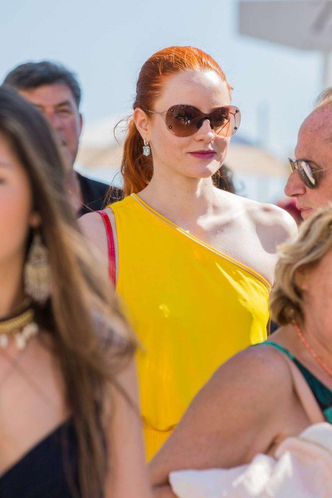 Barbara Meier in Yellow Dress at the Restaurant Eden Roc -16