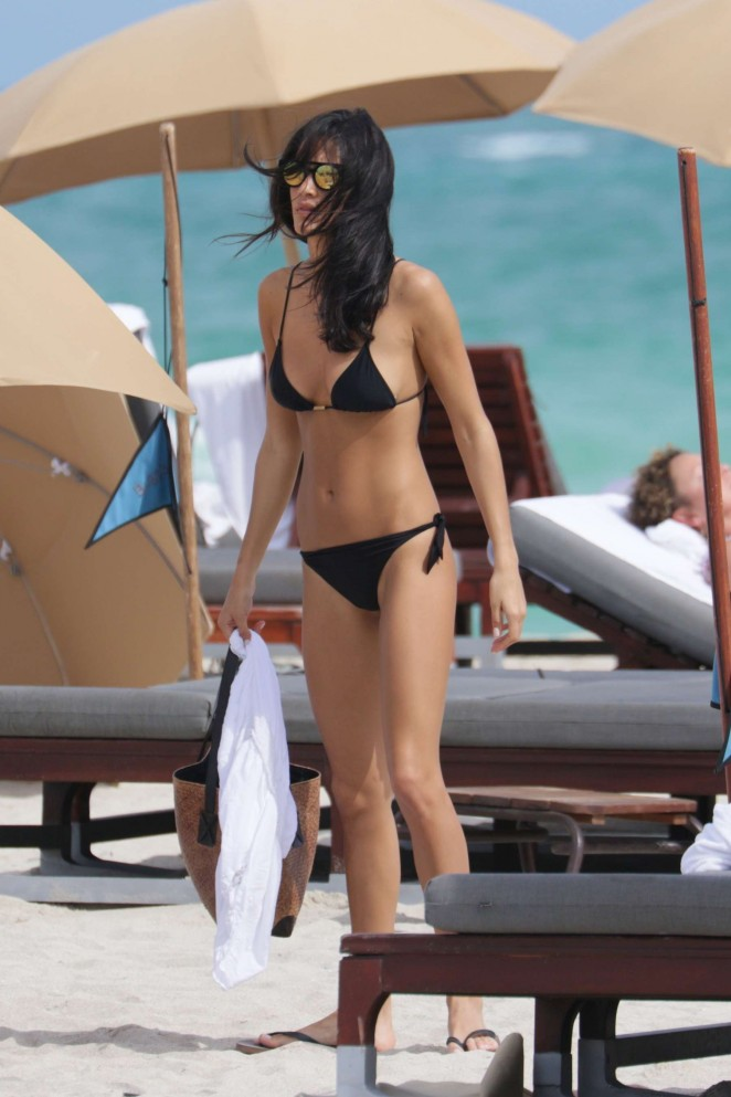 Barbara Nogueira in Black Bikini in Miami