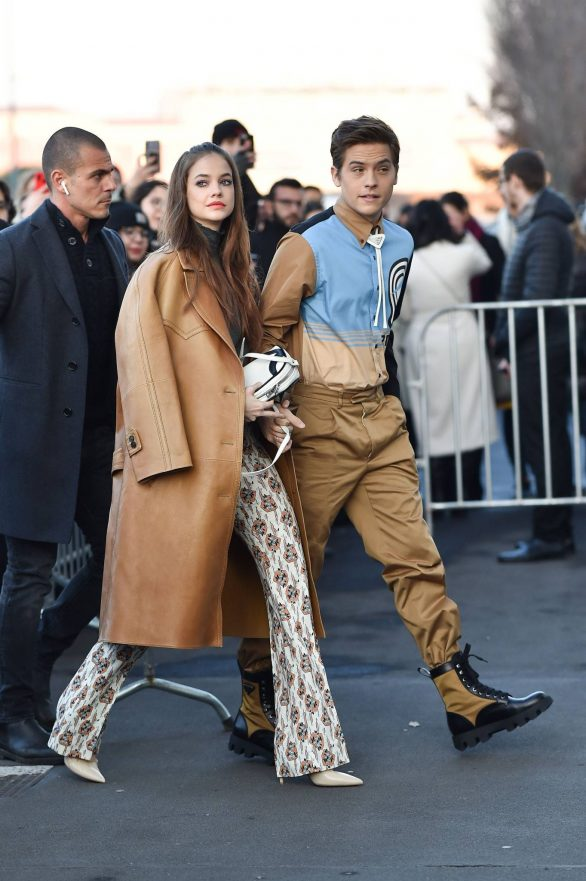Barbara Palvin and Dylan Sprouse - Arrives at the Prada Fashion Show in Milan