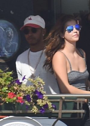 Barbara Palvin and Lewis Hamilton out in Venice