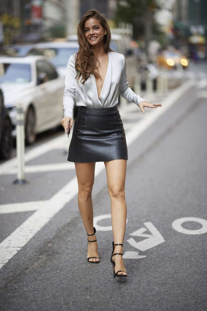 Barbara Palvin in Black Leather Skirt - Out in New York