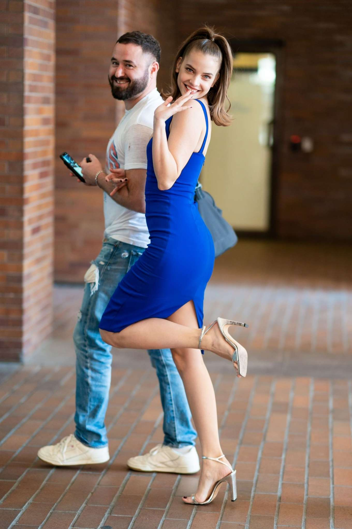 Barbara Palvin in Blue Dress in the Financial District in NYC